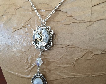 Moonstone Vintage Watch Movement Necklace