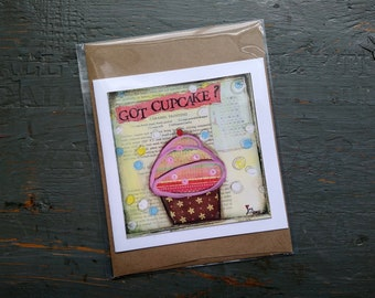 SALE! Cupcake card, Cake Art, Whimsical Cupcake, Sale Card, Clearance Card, greeting card note card, Mixed Media Art, Got Cupcake?