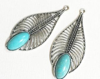 2 pcs Antique pendentif argent en forme de larme turquoise, Turquoise boucle d'oreille gouttes 27x61mm