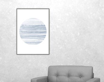 Neptune Planet Abstract Watercolor Painting Planet Minimalist Art Navy Blue Wall Art Wall Art Print Planet Wall Art Watercolor Download Blue