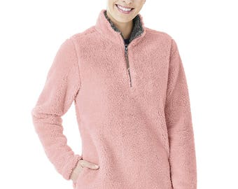 Women's Fleece Sherpa - Powder Pink - Embroidered