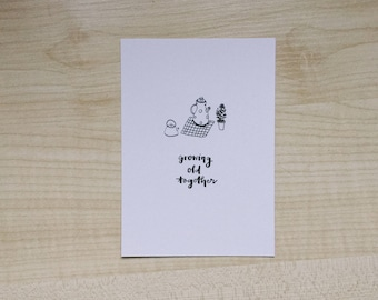growing old together typography cute love illustrated a6 print