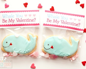 Valentine's Day Whale Sugar Cookies // Whale You Be My Valentine? // School Valentine Cookies Gift Treat Bag // One Dozen