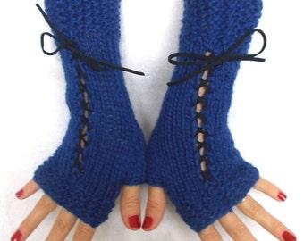 Fingerless Gloves Hand Knit Corset Wrist Warmers in Cobalt Blue