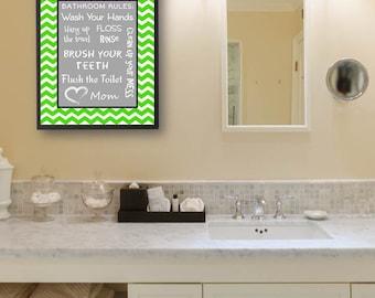 Kids Bathroom Art Decor Bathroom Artwork Printable Art Print Instant Download Bathroom Wall Quote Sign Green Gray Chevron