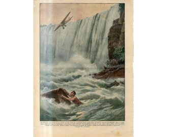 C. 1931 - TRAGEDY! NIAGARA FALLS in a barrel - original antique lithograph - accident print - tragedy print - going over the falls