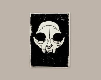 Cat skull | Lino print | Original illustration