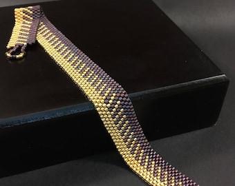 Peyote Beaded Bracelet - Purple and 24 kt Gold
