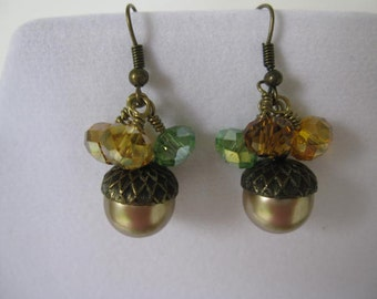 Acorn Earrings-Cute Pearl Acorns with Fall Crystals Antiqued Brass Caps-Fall Wedding