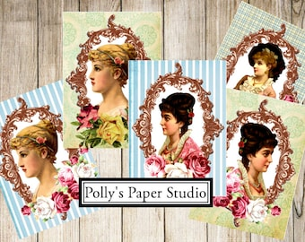 Victorian Ladies Journal Cards Digital Images printable download file for Cards and Tags and Crafts Polly's Paper Studio 8 Images