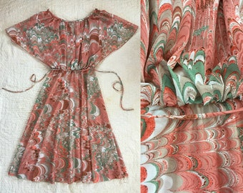 60's coral Marbled dress // Size XS/S //
