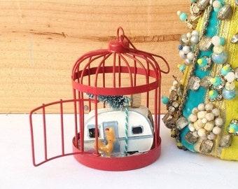 sale mini christmas red birdcage with snow deer christmas tree and rv handmade mantel decor christmas decor holiday decor