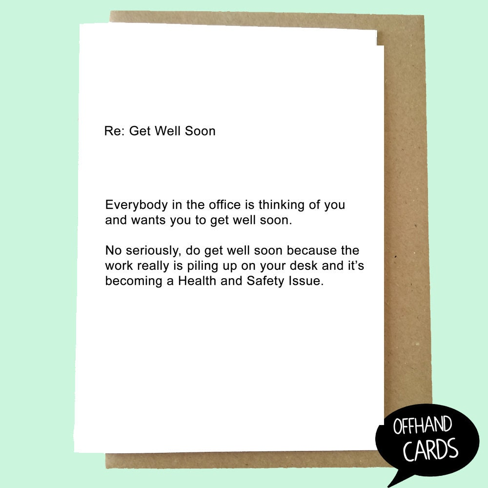Funny get well soon card office card sympathy card office zoom kristyandbryce Image collections
