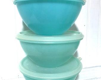 3 Pastel Vintage Tupperware Bowls