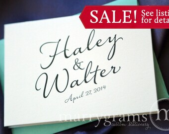 Custom Wedding Thank You Cards - Names & Date Bridal Shower Personalized Thank You Notes - Fancy, Pink, Purple, Lagoon, Navy Sale (100 ct)