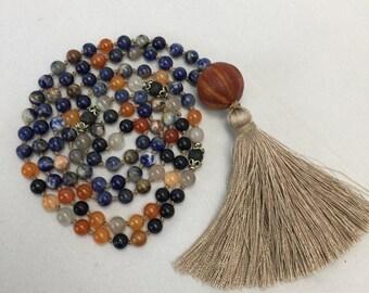Orange Sodalite Mala Necklace for Meditation