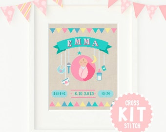 Welcome Baby Cross Stitch KIT,  Baby Girl Cross Stitch Kit, Customisable Cross Stitch Kit, Custom Cross Stitch Kit, Nursery Cross Stitch