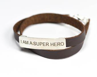 Double leather bracelet   sterling silver stripe   laser Engraved- I AM SUPER HERO   handmade jewelry   made in Israel   women bracelet