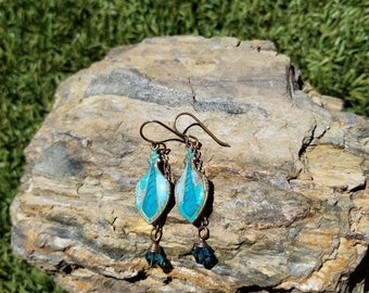 Modern Rustic Patina Earrings / brass / one of a kind