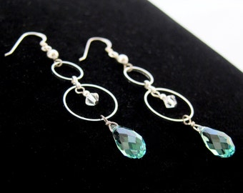 Swarovski Crystal Drop Earrings with Circular Links - Muted Turquoise & Sterling Silver Ear Wire