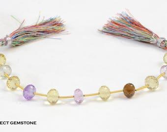 Natural Purple Amethyst/lemon Quartz/pink Amethyst/Beer Quartz Rondelle Beads Concave Cut 11 Pcs Layout