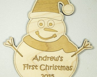 First Christmas Ornament, Personalized Snowman Ornament, Custom Ornament, Christmas Gift
