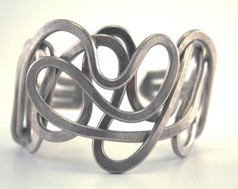 Cuff Bracelet - Sexy Sterling Silver Pewter  - Free Shipping - Unique Hand Made Adjustable Size - Light Weight