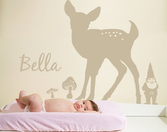 Large Woodland Animal Silhouette Scene Kit with custom name Vinyl Wall Decals