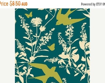 ON SALE Joel Dewberry Fabric - 1/2 Metre Bungalow -  Swallow Study in Teal / Free Spirit Fabric