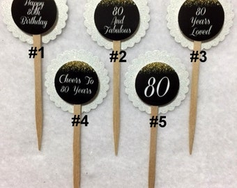 Set Of 12 Personalized 80th Birthday Party  Cupcake Toppers (Your Choice Of Any 12)