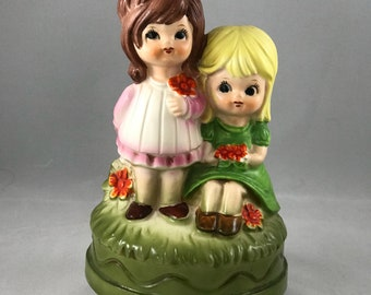 Hummel Style Cermaic Rotationg Musical Figurines