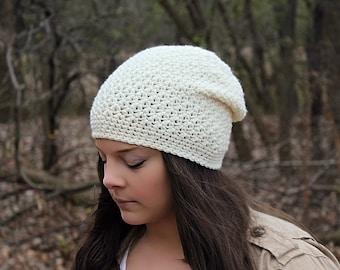 Slouchy Hat, Slouchy Beanie, Beige Crochet Hat, Crochet Beanie, Cream Beanie, Cream Slouchy Hat, Off White Hat, Hipster Beanie, Tan Hat