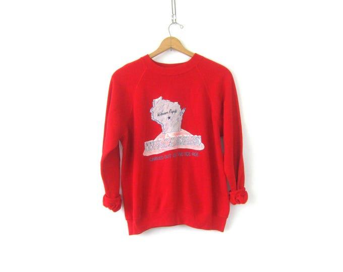 vintage Wisconsin Rapids sweatshirt 1980s Raglan Sleeves Top ATHLETICS Tourist Souvenir Sweater Red Sweater Size Large Xl