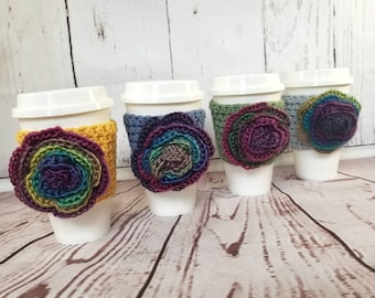 Flower Cup Cozy, Rose Coffee Cozy, Flower Cup Sweater, Floral Cup Cozy, Rose Cup Sleeve, Rainbow Cup Cozy, Coffee Cup Cozy, Coffee Cup Cozy