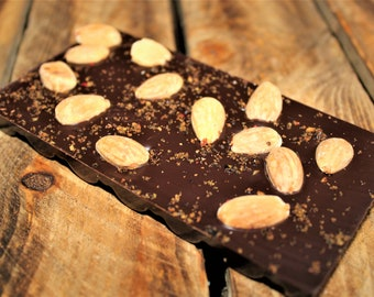 Chocolate Bar - Handmade Dark Chocolate bar with Juiper & Almond - artisan chocolate, made in Yorkshire