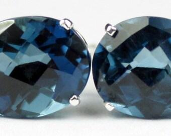 London Blue Topaz, 925 Sterling Silver Post Earrings, SE102