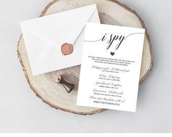 100% CUSTOM Printable Wedding I Spy Game Cards, I spy wedding game editable, Printable I Spy, Wedding Day Games, Wedding Reception Games, C8