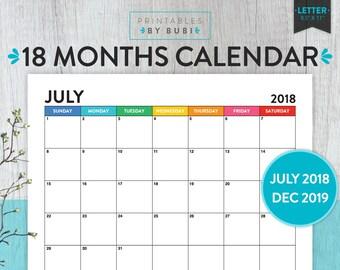 Calendar Printable 2018 2019, Academic Calendar, 2018 2019 Printable Calendar, Monthly Calendar, Monthly Planner, 2018 2019 Calendar