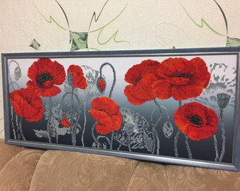 Beaded picture Poppies, Bead embroidery Poppy flowers, Gift, Bead embroidery, Embroidery picture