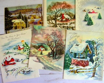 Vintage Christmas Lot/10 Used Cards | CHRISTMAS LANDSCAPES | 1940s 50s 60s | Scrapbook Art Junk Journal Collage Mixed Media Paper Crafts