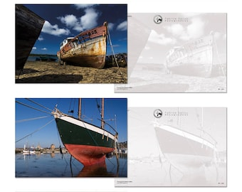 "4 Cartes Postales de Collection ""Vieilles Coques"". Grand format A5 14,8 x 21 cm (6 x 8 in)"