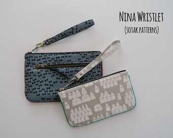 pdf pattern, instant download, pouch pattern, wristlet, wallet, two sizes, Nina Wristlet, clutch, bag pattern, zipper, diy, wrist strap, sew