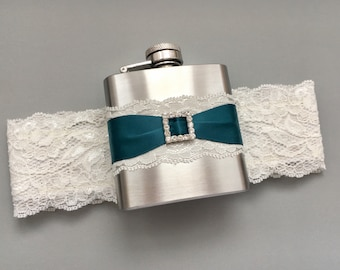 Blue FLASK GARTER, Ivory & Teal Blue Bridal Garter with Flask, Something Blue, Wedding Garter Flask, Garter, Ivory Lace Garter, Garters