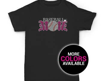 Baseball Mom Rhinestone T-Shirt Sports Design Women White Black Soft Cotton T Shirt Mothers Day