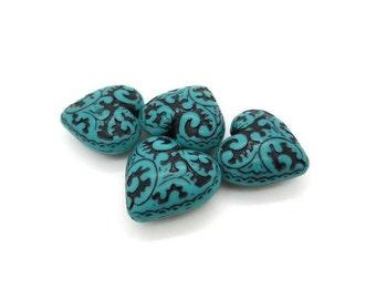 Vintage Turquoise Lucite Heart Pendants, 4 pcs