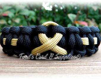 Childhood Cancer, COPD, Gold Awareness Ribbon Bracelet,Paracord Bracelet, Survival Bracelet, Support Bracelet