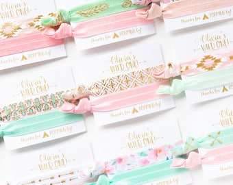 Wild One Birthday Party Hair Tie Favors   Boho Birthday Party Hair Tie Favors, Boho Arrow Aztec Tribal Print Hair Ties, Gold Mint Pink White
