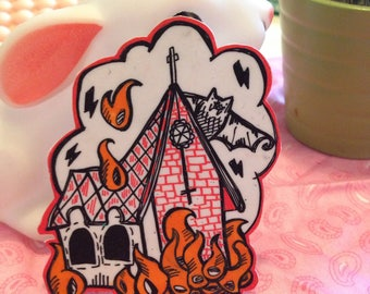 "Burning Church pin / brooch ""church on fire"""