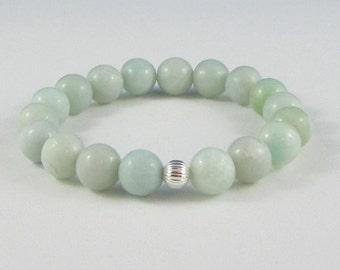 Green Amazonites Mala Beads Beaded Bracelet Healing Chakra Jewelry Yoga Worry Beads, Stress Relief, Anniversary Birthday Mother Aunt Gifts