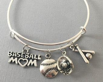 Baseball Mom - Baseball - Baseball Bracelet - Coach Gift - Baseball Jewelry - Baseball Mom Bangle Bracelet -  Baseball Charms - Sports Mom